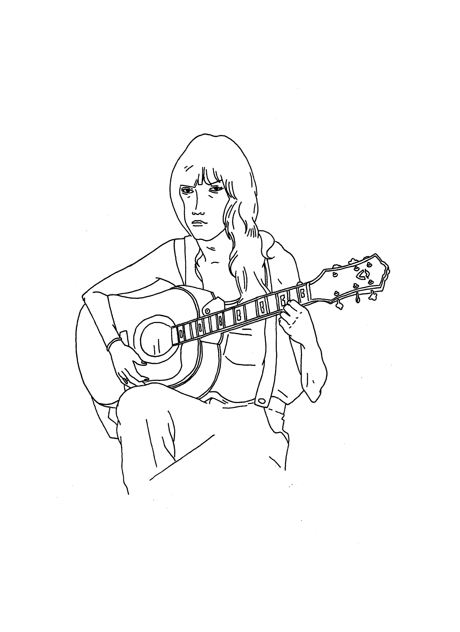 Croquis d'une fille à guitare