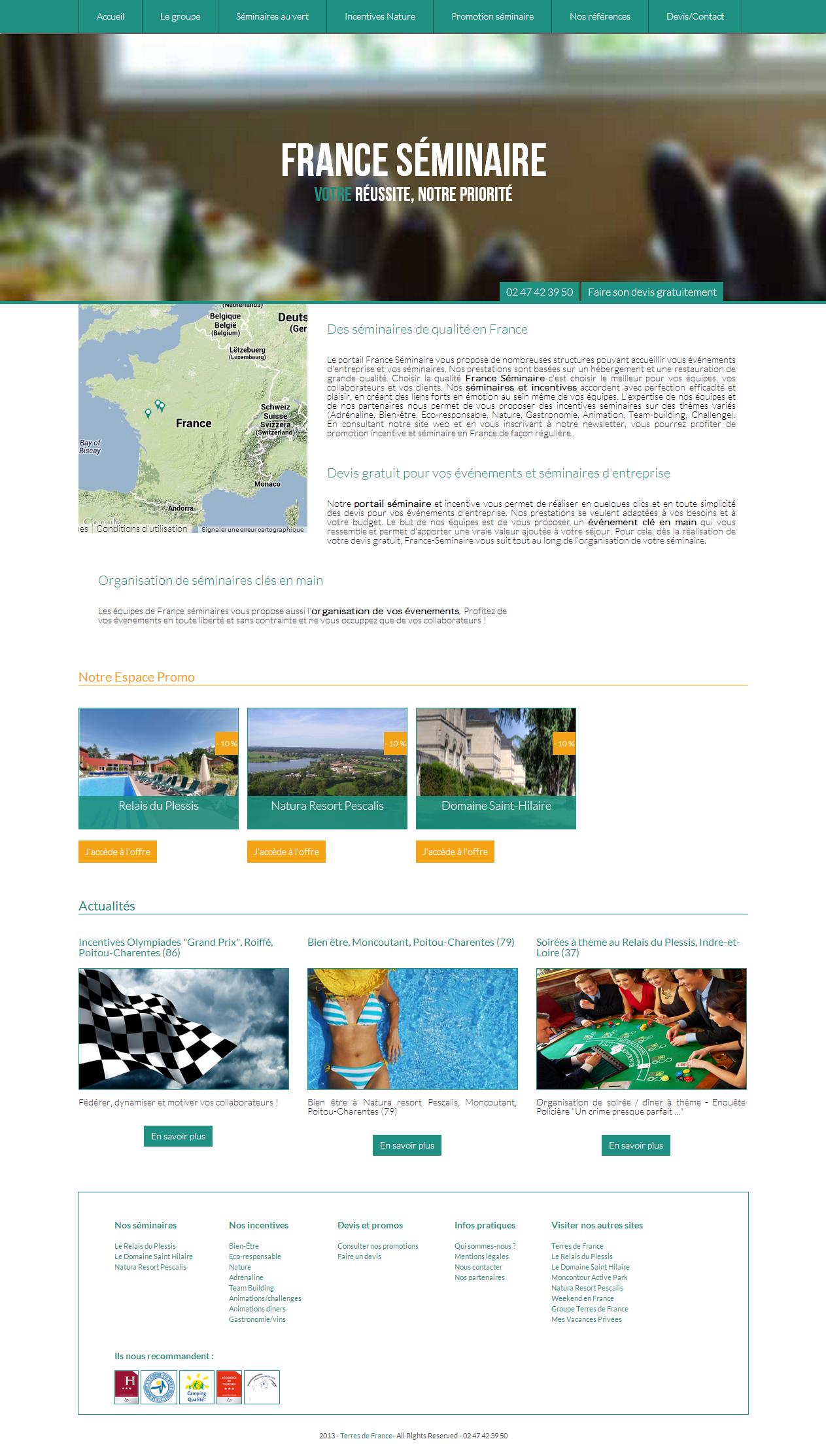 Screenshot du site France-seminaire