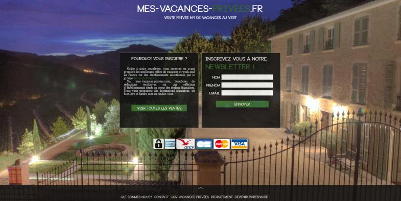 Screenshot du site Mes Vacances Privées, webdesign par Jeffrey Dhumeaux.