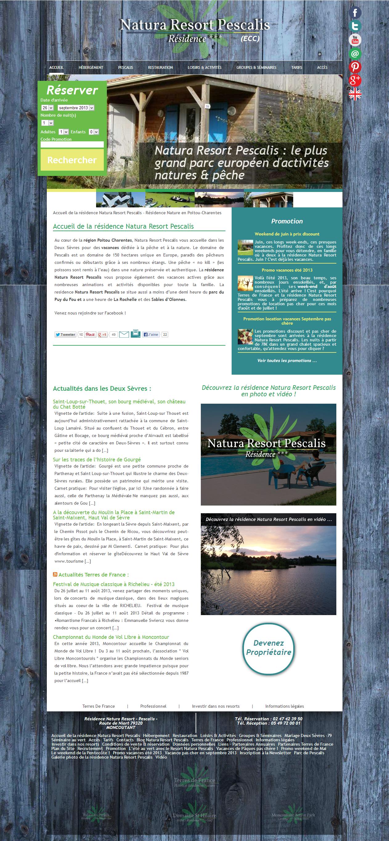 Screenshot du site Natura Resort Pescalis