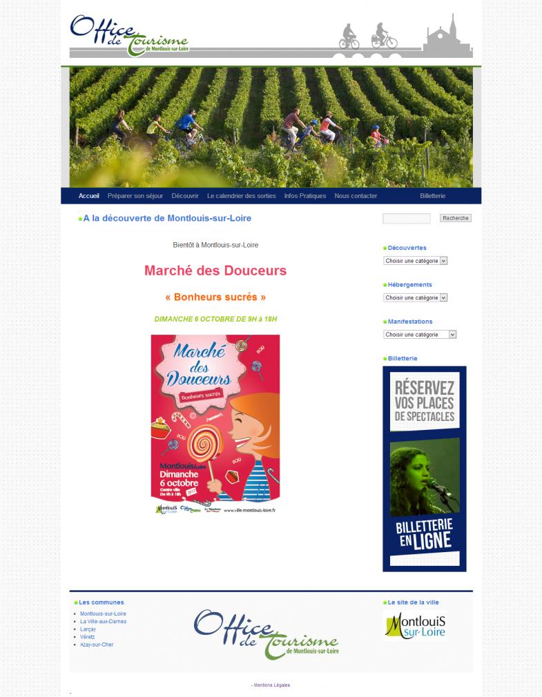 Screenshot du site de l'Office de Tourisme de Montlouis-sur-loire